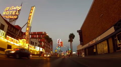 Rolling On East Fremont Street Past Iconic Lights At Dusk- Las Vegas NV Stock Footage