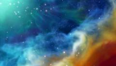 Journey (zoom out) through nebula and star field: 3D volumetrics not fake 2D - stock footage