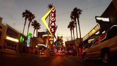 Slow Rolling Under Iconic Vegas Signs- Fremont Street- Las Vegas NV - stock footage