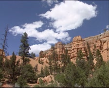 DIXIE NATIONAL FOREST pan hoodoos and weather-sculpted red rock formations Stock Footage
