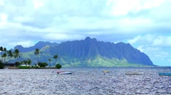 The Koolau Range on Oahu, Hawaii, USA - stock footage