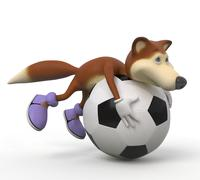 3d foxes football player. Stock Illustration