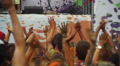 Men women clapping hands at festival, looking on stage, party Footage
