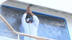 Boat color repair Stock Footage
