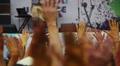 People waving throwing up hands in air, concert, having fun HD Footage