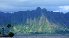 The Koolau Range on Oahu, Hawaii, USA Stock Footage