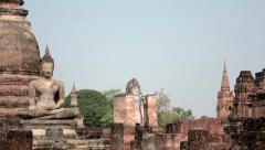 Chedis and Buddhas at Sukhothai Stock Footage