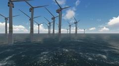 Wind turbines working at sea Stock Footage