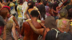 Young girls and guys having fun at event, dancing crowd Stock Footage