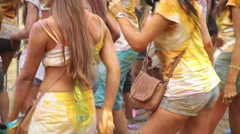 Beautiful girls dancing to music at party, crowd enjoying fest Stock Footage
