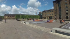 The new public square in front of Central St Martins Art College Stock Footage