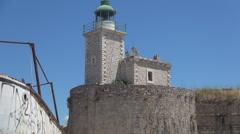 AGIA MAVRA. Moorish fortress. Lighthouse, ancient fortress, LEFKADA, GREECE. Stock Footage