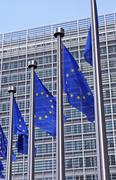 European Flags in front of the European Commission. Stock Photos