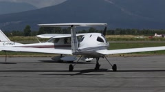 PITT MEADOWS AIRPORT Cessna 150 taxing out with a student for training. Stock Footage
