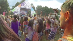 Stock Video Footage of Slow motion, crowd putting hands up in air, festival atmosphere, click for HD
