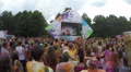 Happy audience throwing hands up in air at festival, slow-motion, click for HD HD Footage