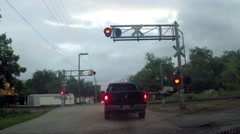 Train Crossing with lights flashing Stock Footage