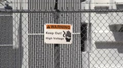 $Warning Sign High Voltage Substation Stock Footage