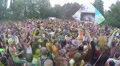 Crowd clapping hands synchronically at music festival, slow-mo, click for HD Footage