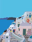 Greek Island Village - stock illustration