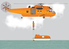 search and rescue helicopter - stock illustration