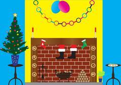santa in chimney - stock illustration