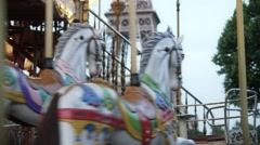 Romantic carousel in front of Eiffel Tower with wedding pair Stock Footage