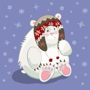 Polar bear cub - stock illustration