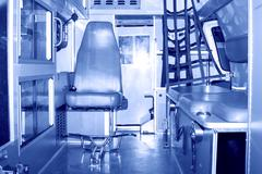 interior cabin of an ambulance - stock photo