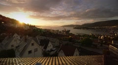Beautiful shot of Bergen/Norway and its fjord at sunset 3 Stock Footage