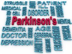 3d parkinson's disease symbol isolated on white. mental health symbol concept - stock illustration