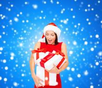 Stock Illustration of smiling woman in red dress with gift box