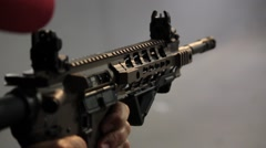 Closeup of an AR-15 assault rifle - stock footage