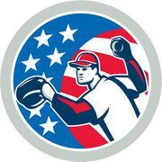 American baseball pitcher throwing ball retro Stock Illustration