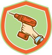 Handyman hand holding cordless drill retro Stock Illustration