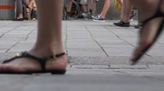 ULTRA HD 4K Detail pedestrian people foot walk public square commuter travel day Stock Footage