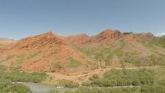 Red mountains and a river Stock Footage
