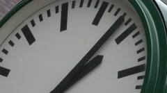 ULTRA HD 4K Detail closeup public clock motion city decoration train station day Stock Footage