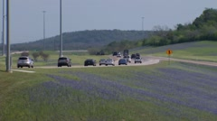 Bluebonnets and Texas Highway Stock Footage
