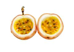 Opened passion fruit isolated Stock Photos