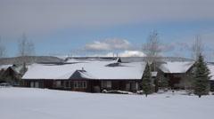 Snow on resort timeshare condominium Pagosa Springs Colorado 4K 224 Stock Footage