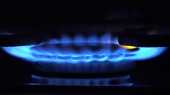 ULTRA HD 4K Blue light cooker flame darkness night natural fuel crisis concept  Stock Footage