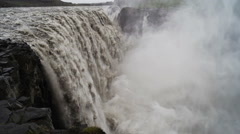 Dettifoss waterfall into Canyon Stock Footage