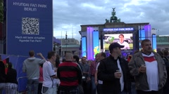 ULTRA HD 4K Crowded people supporters German team soccer game Berlin Gate 2014  Stock Footage