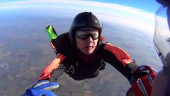 California USA, January 20015 Skydiving elderly person in free fall - stock footage
