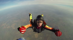 Norway, Europe, January 2015: Elderly skydiver training to free fall Stock Footage
