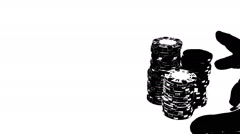 2186 Poker Chips Bet All In Silhouette with White Background  Stock Footage
