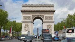 4K UHD Arch of Triumph Paris, France, Traffic, timelapse Stock Footage