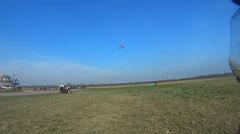 Parachutist gathering parachute Arkistovideo