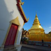 Golden pagoda architecture of northern thailand in temple buddhism at wat phr Stock Photos